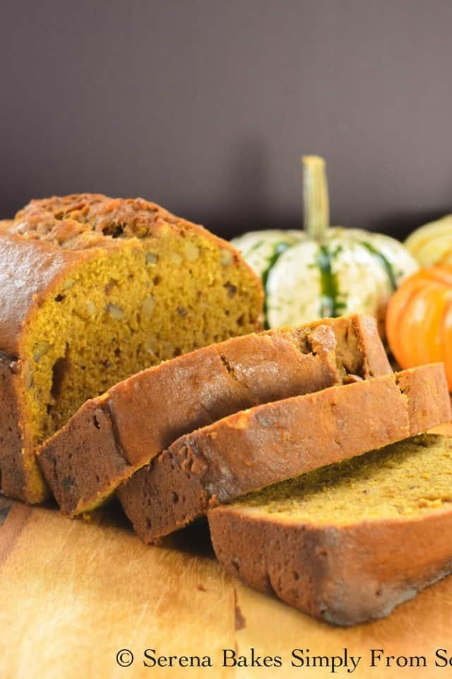 How to make Moist Pumpkin Bread recipe. It turns out super moist for a delicious fall loaf from Serena Bakes Simply From Scratch.