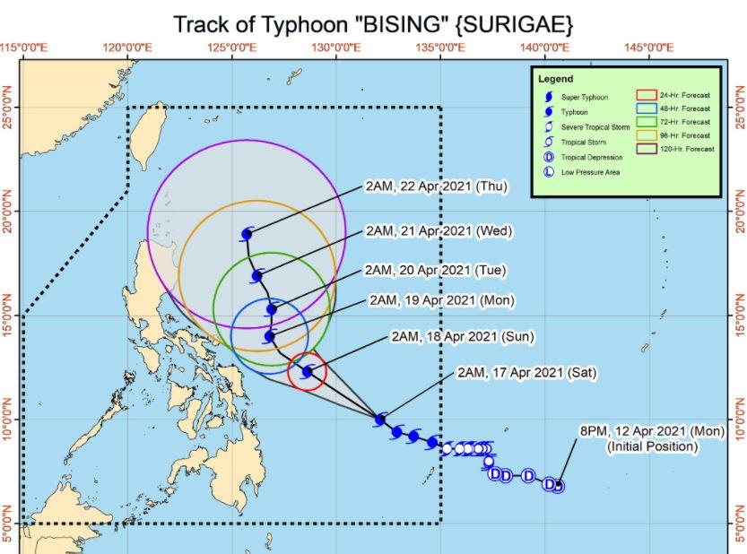 Typhoon Bising 2021 track PAGASA