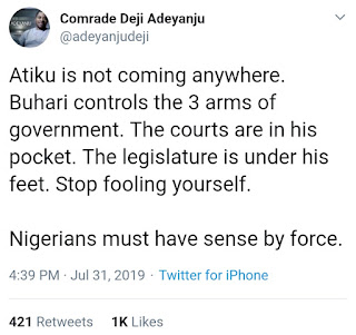 """Atiku Is Not Coming Anywhere"" - Deji Adeyanju"