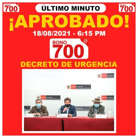 Último Minuto: Bono 700 Es Aprobado Por Consejos De Ministros Por Un Decreto De Urgencia