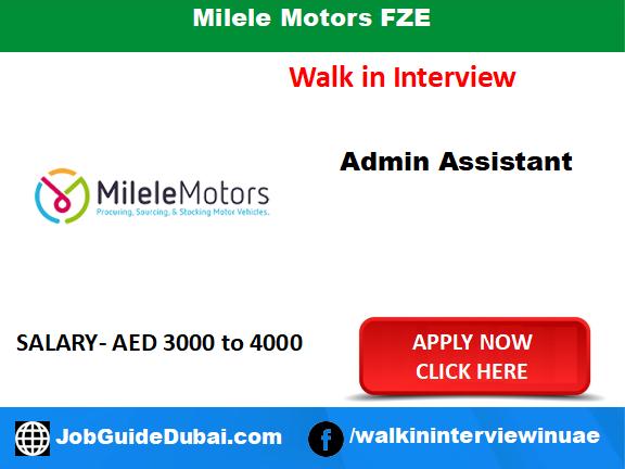 Milele Motors FZE career for Admin Assistant job in Dubai