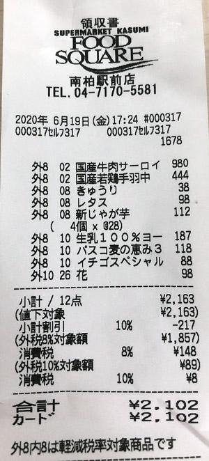 カスミ フードスクエア南柏駅前店 2020/6/19 のレシート