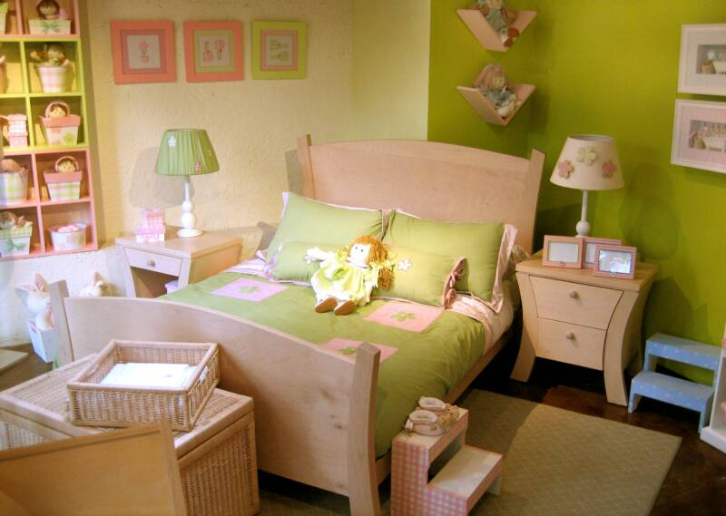 Awesome Green White Wood Cute Design Girls Beautiful Bedroom Ideas
