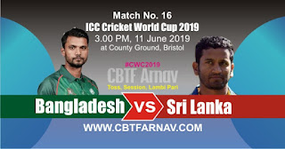 16th Match SL vs BAN World Cup 2019 Today Match Prediction