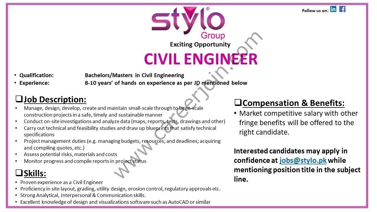 Stylo Pvt Ltd Jobs Civil Engineer 2021