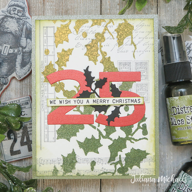 We Wish You A Merry Christmas Card by Juliana Michaels featuring the Tim Holtz Ranger Ink Distress Christmas Mica Stain
