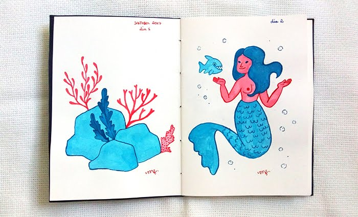 Inktober 2017 - Amavelmente Irônica - Sereia e corais