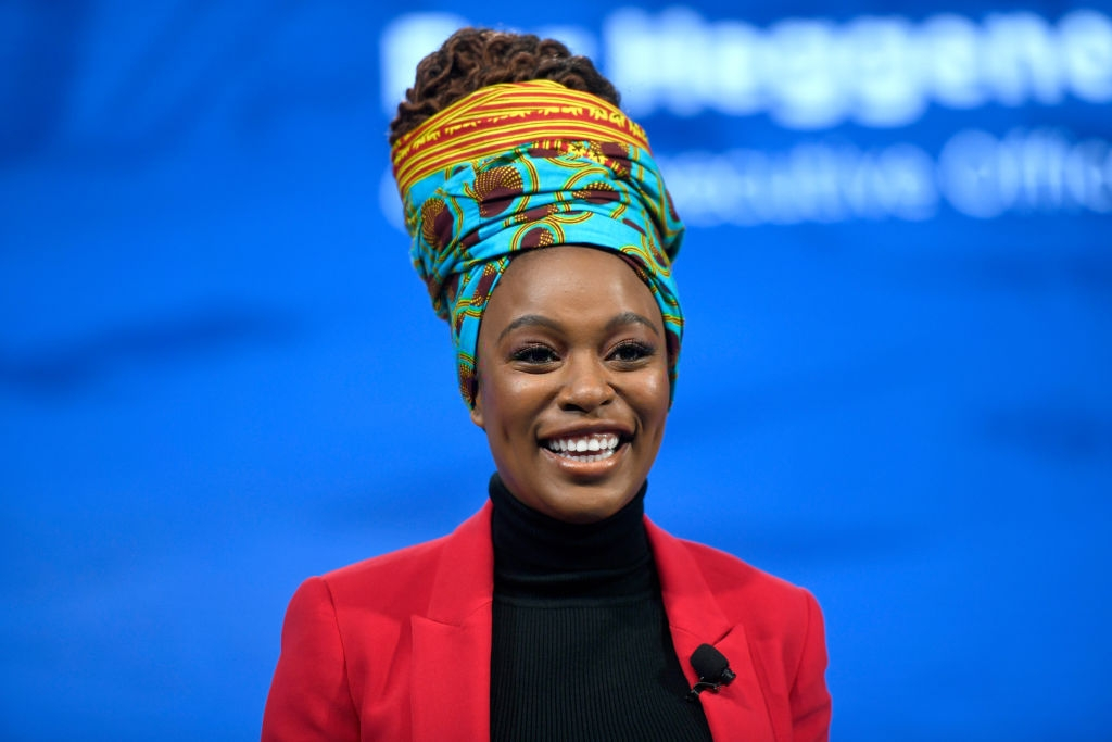 Actress Nomzamo Mbatha speaks onstage during the 2018 Concordia Annual Summit - Day 2 at Grand Hyatt New York on September 25, 2018 in New York City. (Photo by Riccardo Savi/Getty Images for Concordia Summit)