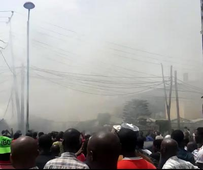 Photos: Building In Ikoyi, Lagos State Catches Fire After Motorcycle Carrying Fuel Exploded In Flames