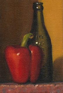 Still life oil painting of a red pepper beside an antique green glass bottle.