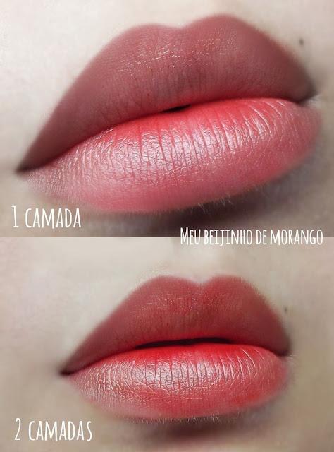 Swatches da cor beijinho de morango
