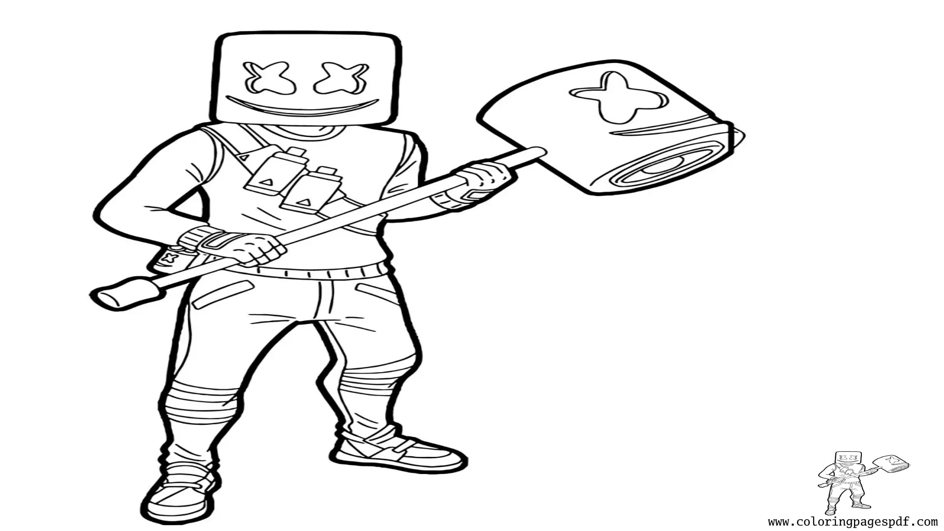 Coloring Page Of Fortnite Marshmello Skin