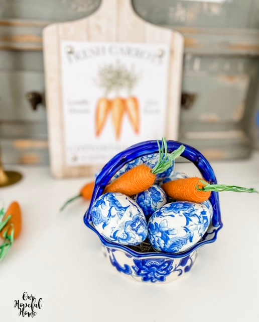 orange jute carrots chinoiserie eggs