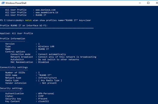 cara melihat password wifi dengan powershell windows
