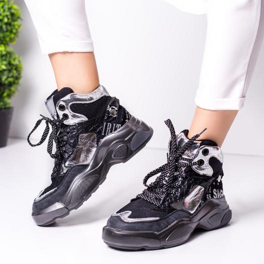 Sneakers dama negri inalti cu argintiu