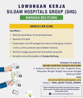 Lowongan Kerja ATLM di SILOAM HOSPITAL Bangka Belitung