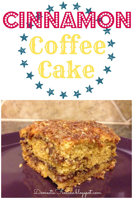 Cinnamon Coffee Cake Recipe {by Domestic Femme} #Recipes #Breakfast #Cakes #Dessert #Desserts #Brunch #Quick #Easy #Idea #Ideas #Potluck #Espresso
