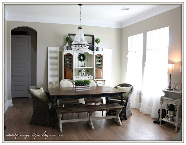 suburban farmhouse-french farmhouse-planked table-farmhousebench-mia chandelier- dining room-from my front porch to yours