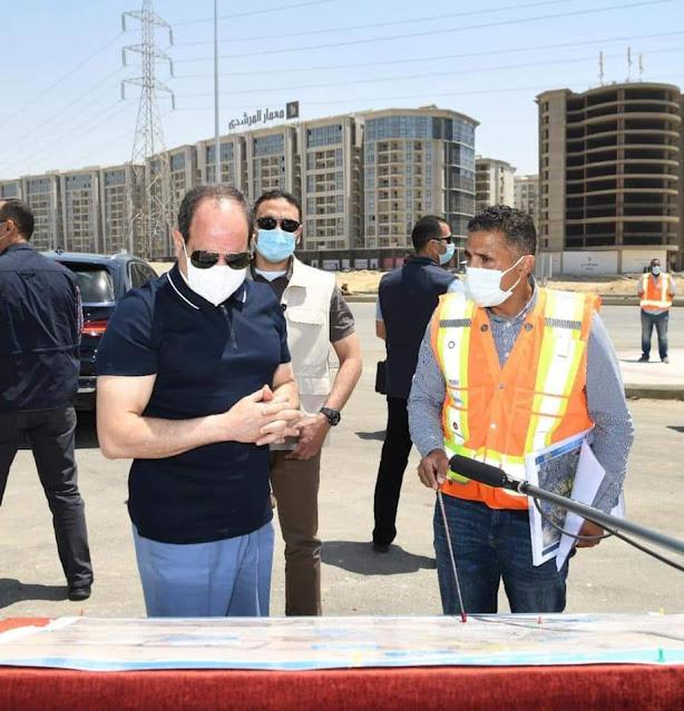 الرئيس السيسي يقوم بجولة تفقدية لمتابعة أعمال التطوير والصيانة الشاملة للطريق الدائري حول القاهرة الكبرى