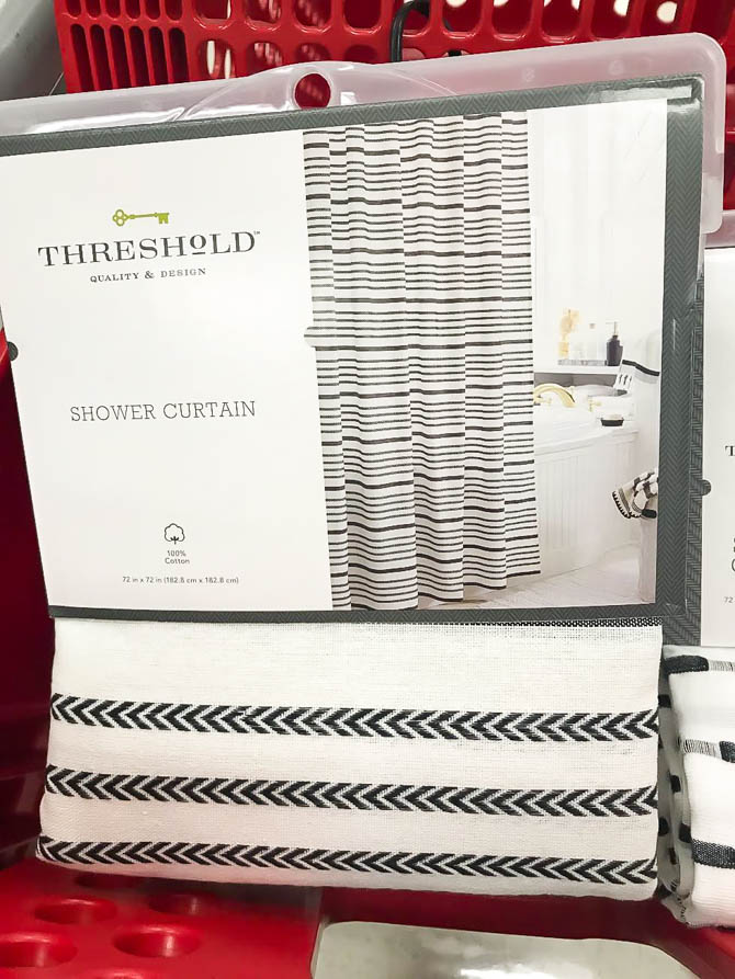 Black and white Threshold shower curtain
