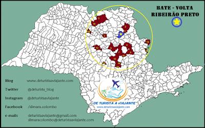 Mapa turístico da região de Ribeirão Preto