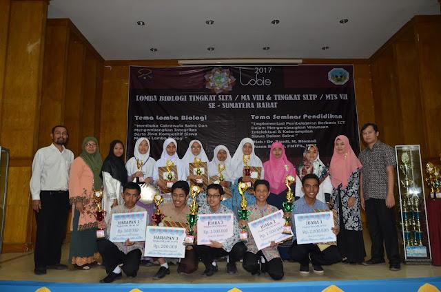 Juara Lomba Biologi Tingkat SLTA/MA VIII & Tingkat SLTP / MTS VII Se - Sumatera Barat