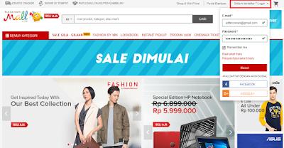 Cara Membeli Barang dan Belanja Online di Mataharimall.com, Halaman utama mataharimall.com