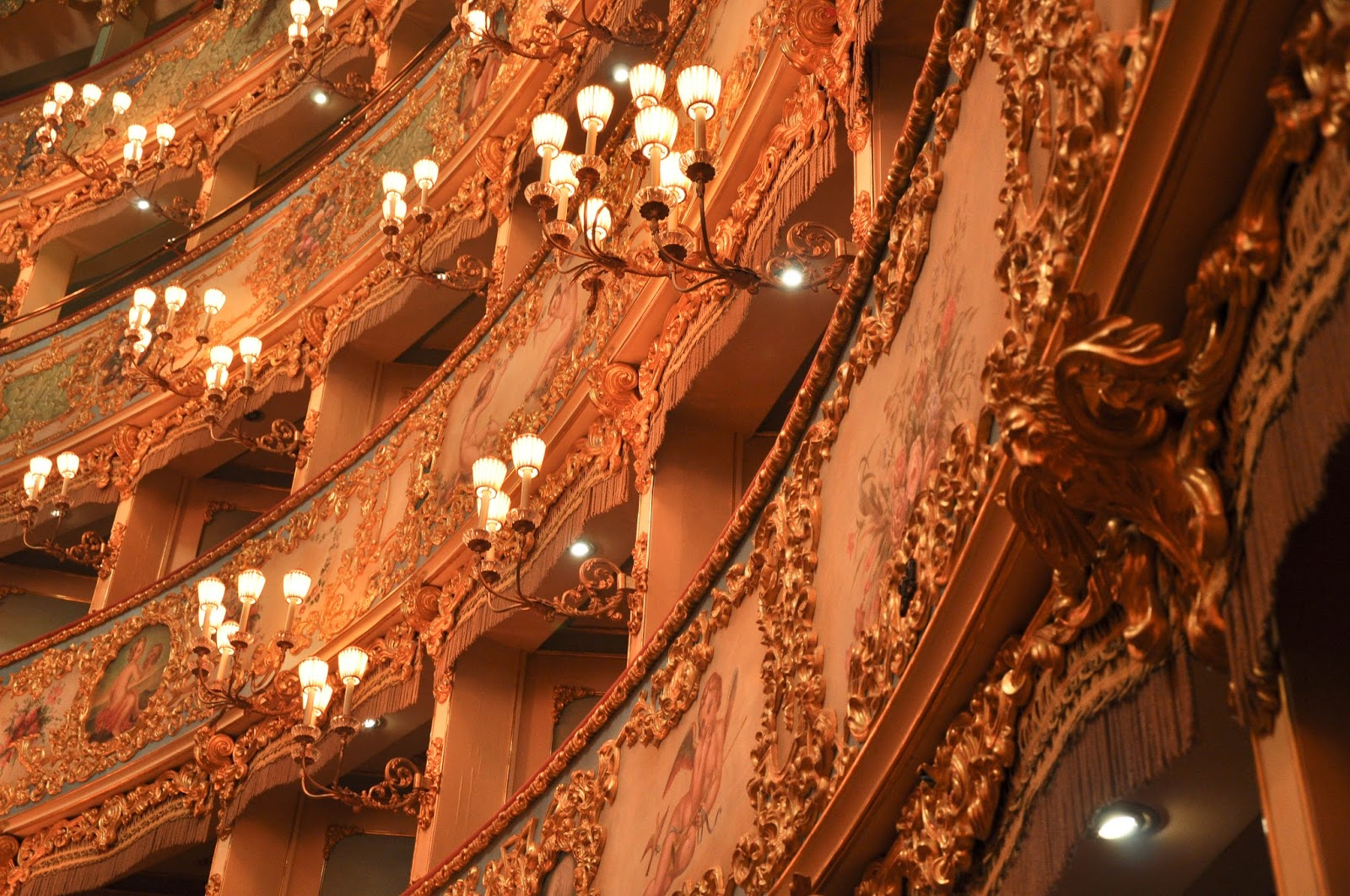 A close up of the ornamenation of the boxes, La Fenice, Venice, Italy
