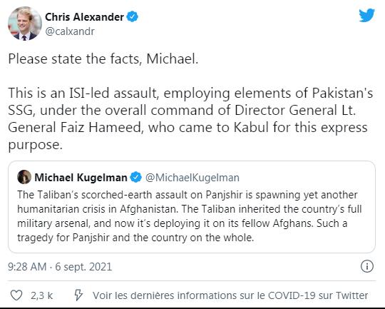 Bernard Grua: «Il s'agit d'un assaut dirigé par l'ISI, employant des éléments du SSG pakistanais (Commandos, Forces Spéciales du Pakistan), sous le commandement du général Faiz Hameed, qui est venu à Kaboul dans ce but exprès».