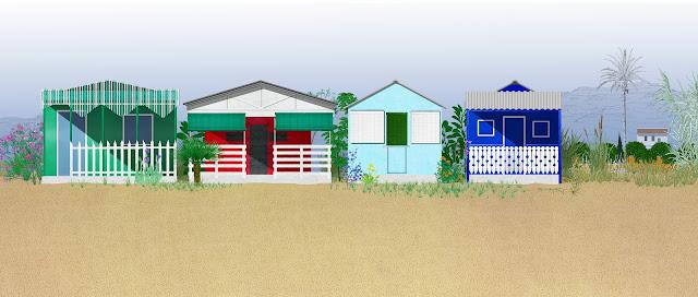 casas de madera, playa, Valencia