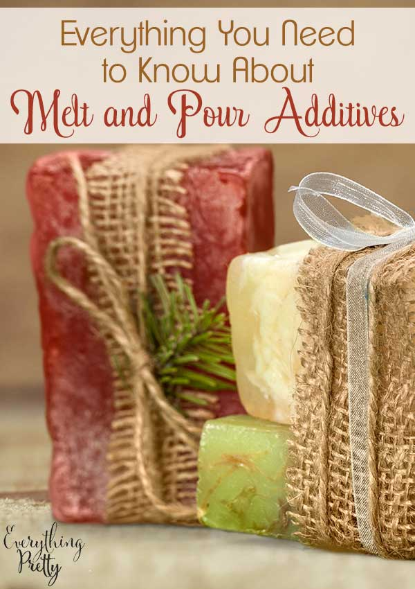 Looking for melt and pour soap ideas?  Learn about the different melt and pour additives that you can add to your pour and melt soap.  Melt and pour soap diy is easy to make in about 10 minutes.  You can add several different things to make melt and pour soap recipes.  Diy soap melt and pour makes a great craft!  Learn what you can add to your diy melt and pour soap recipes in glycerin melt and pour soap recipes.  #soap #meltandpour #soapmaking #diy #diysoap