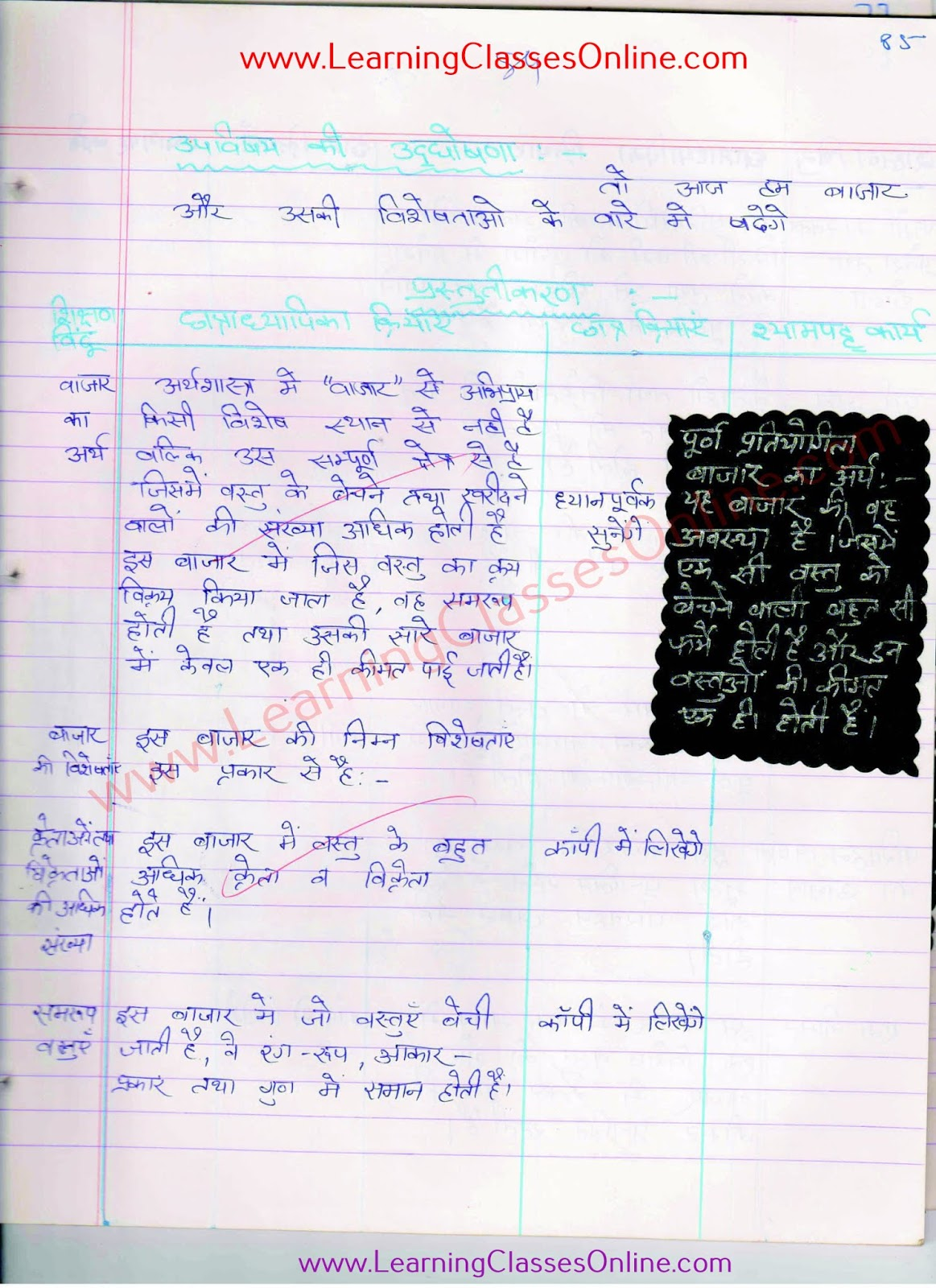 bazaar lesson plan class 10 in hindi