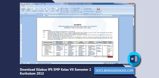 Download Silabus IPS SMP Kelas VII Semester 2 Kurikulum 2013
