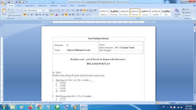 Soal Penilaian Harian Matematika Kelas 4 Operasi Bilangan Cacah Kurikulum 2013 Revisi Terbaru