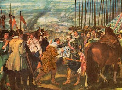 Postal de Museo del Prado, Las Lanzas o La Rendición de Breda, Velázquez. Editorial Dominguez.