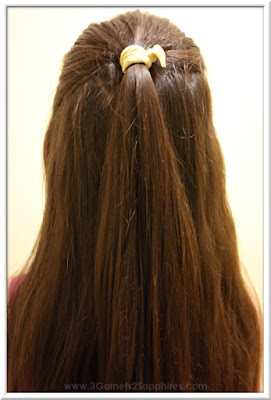 Easy #StraightAStyle hairstyle for back-to-school - Sparkly ribbon elastics