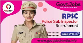 RPSC Rajasthan Police Sub Inspector SI 2021 Apply Online