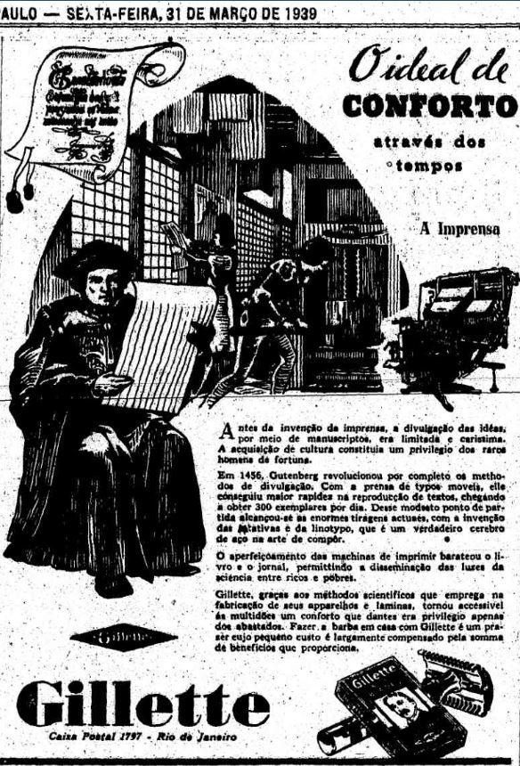 Propaganda da Gillette em 1939 que compara a revolução da imprensa com as lâminas de barbear.