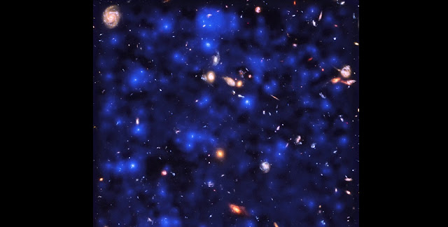 Deep observations made with the MUSE spectrograph on ESO's Very Large Telescope have uncovered vast cosmic reservoirs of atomic hydrogen surrounding distant galaxies. The exquisite sensitivity of MUSE allowed for direct observations of dim clouds of hydrogen glowing with Lyman-alpha emission in the early Universe — revealing that almost the whole night sky is invisibly aglow.  Credit: ESA/Hubble & NASA, ESO/ Lutz Wisotzki et al.