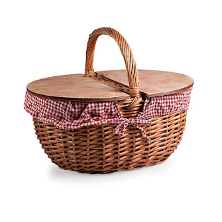 picnic basket, picnic supplies, Little Red Riding Hood, basket, country style