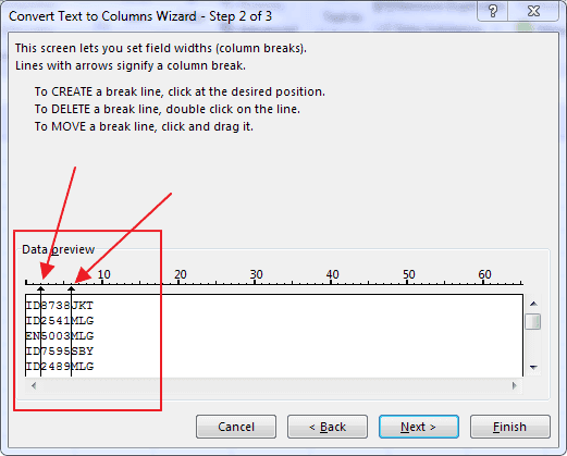 Fixed Width Function in Excel Text to Columns