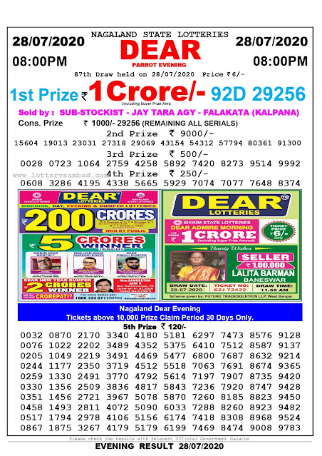 Nagaland State Lottery Sambad 28-07-2020 Today Result 8 PM