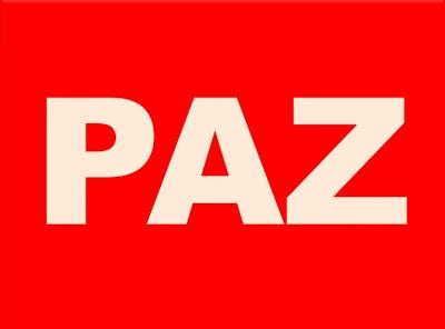 A imagem de fundo vermelho e caracteres em branco está escrito a palavra paz.