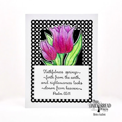Our Daily Bread Designs Stamp Set:Tulips, Custom Dies:Tulip, Circle Scalloped Rectangles, Pierced Rectangles