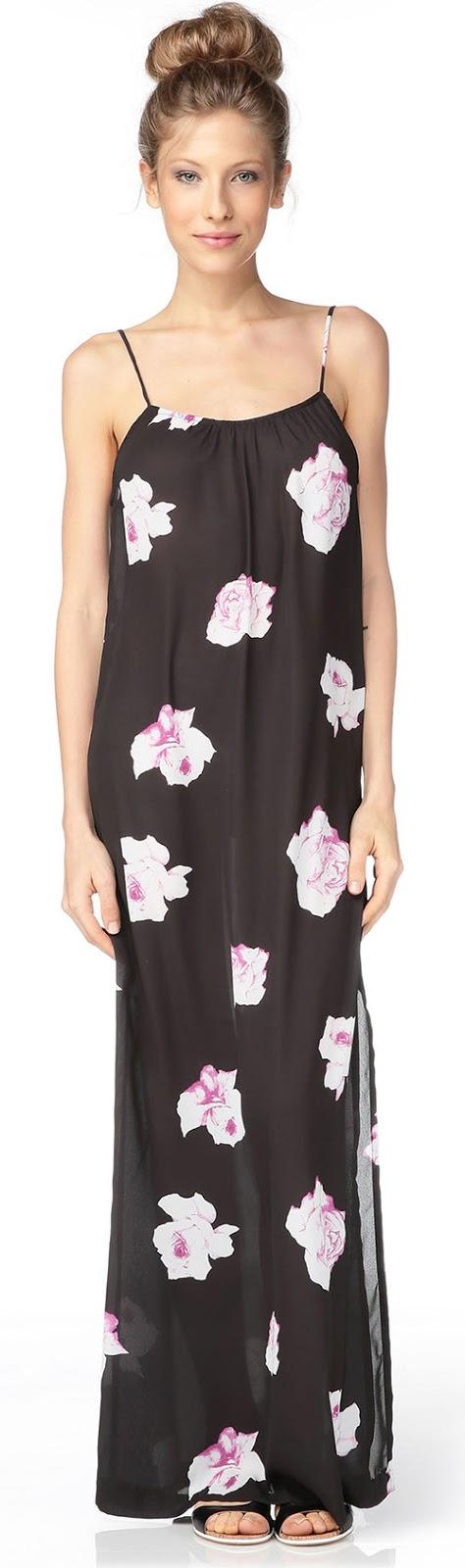 Robe longue noire à fleurs Gat Rimon