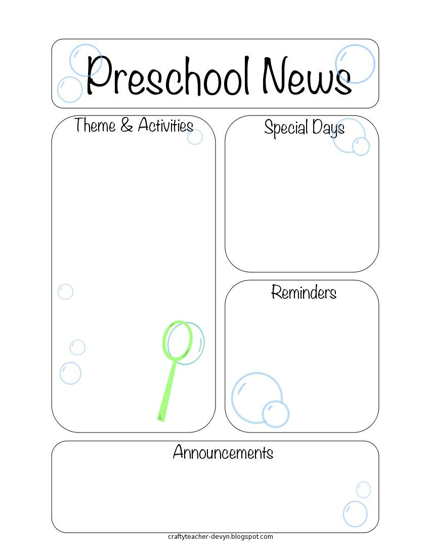 bubblenewsletter October Newsletter Daycare Template on printable downloadable, free downloadable preschool,
