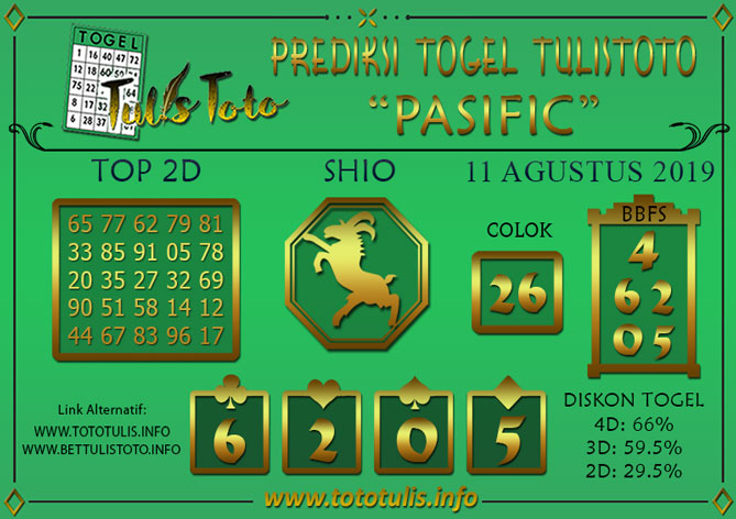 Prediksi Togel PASIFIC TULISTOTO 11 AGUSTUS 2019