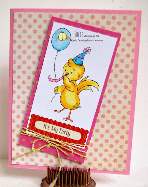 Birthday card using party chicken digital stamp