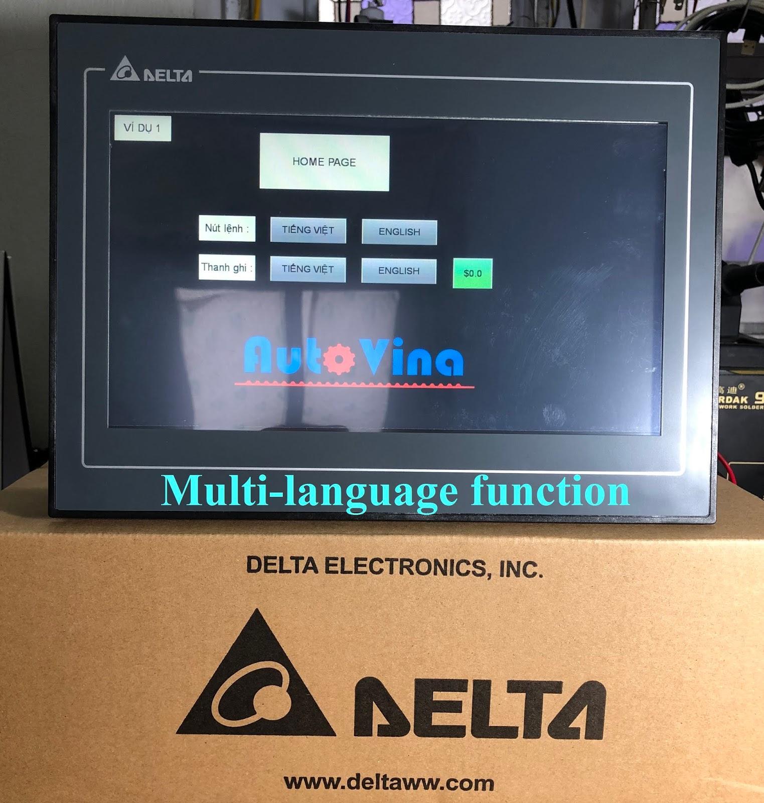 Hướng dẫn lập trình HMI Delta DOP-110CS hiển thị nhiều ngôn ngữ cho người sử dụng