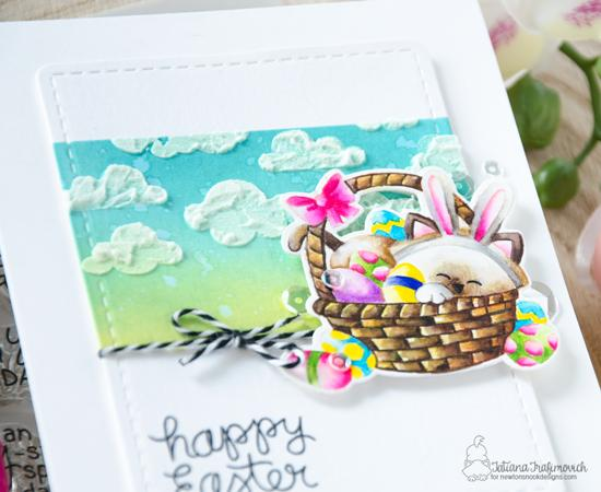 Happy Easter cat in Basket Card by Tatiana Trafimovich | Newton's Easter Basket Stamp Set & Cloudy Sky Stencil by Newton's Nook Designs #newtonsnook #handmade
